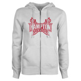 ENZA Ladies White Fleece Full Zip Hoodie-Hampton Pirates Swords Glitter