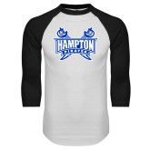 White/Black Raglan Baseball T-Shirt-Hampton Pirates Swords