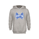 Youth Grey Fleece Hood-Hampton Pirates Swords