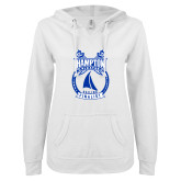 ENZA Ladies White V Notch Raw Edge Fleece Hoodie-Hampton Sailing Championship Finalist