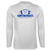 Syntrel Performance White Longsleeve Shirt-Football Stacked Ball Design