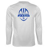 Syntrel Performance White Longsleeve Shirt-Vertical Football Design