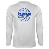 Syntrel Performance White Longsleeve Shirt-Basketball Ball Design