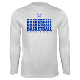 Syntrel Performance White Longsleeve Shirt-Basketball Stacked Design