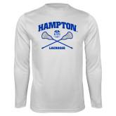 Syntrel Performance White Longsleeve Shirt-Lacrosse Crossed Sticks