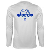 Syntrel Performance White Longsleeve Shirt-Volleyball Ball Design