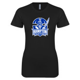 Next Level Ladies SoftStyle Junior Fitted Black Tee-Hampton Pirates