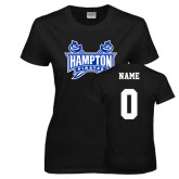 Ladies Black T Shirt-Hampton Pirates Swords, Custom Tee w/ Name and #