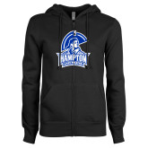 ENZA Ladies Black Fleece Full Zip Hoodie-Hampton Lady Pirates