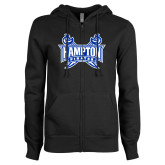 ENZA Ladies Black Fleece Full Zip Hoodie-Hampton Pirates Swords