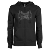 ENZA Ladies Black Fleece Full Zip Hoodie-Hampton Pirates Swords Glitter