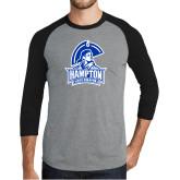 Grey/Black Tri Blend Baseball Raglan-Hampton Lady Pirates