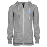 ENZA Ladies Grey/Black Marled Full Zip Hoodie-Hampton Pirates Swords