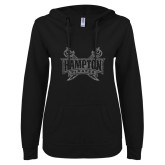 ENZA Ladies Black V-Notch Raw Edge Fleece Hoodie-Hampton Pirates Swords Glitter