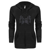 ENZA Ladies Black Light Weight Fleece Full Zip Hoodie-Hampton Pirates Swords Glitter