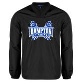 V Neck Black Raglan Windshirt-Hampton Pirates Swords