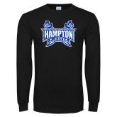 Black Long Sleeve TShirt-Hampton Pirates Swords Distressed