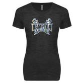 Next Level Ladies Junior Fit Black Burnout Tee-Hampton Pirates Swords