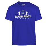 Youth Royal T Shirt-Football Stacked Ball Design