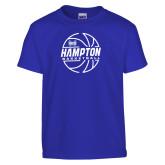 Youth Royal T Shirt-Basketball Ball Design