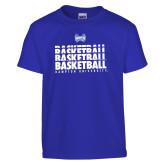 Youth Royal T Shirt-Basketball Stacked Design