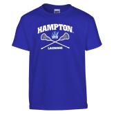 Youth Royal T Shirt-Lacrosse Crossed Sticks