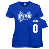 Ladies Royal T Shirt-Hampton Pirates Swords, Custom Tee w/ Name and #