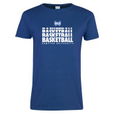 Ladies Royal T Shirt-Basketball Stacked Design