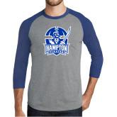 Grey/Royal Heather Tri Blend Baseball Raglan-Hampton Pirates