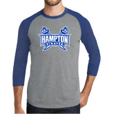 Grey/Royal Heather Tri Blend Baseball Raglan-Hampton Pirates Swords
