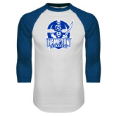 White/Royal Raglan Baseball T Shirt-Hampton Pirates