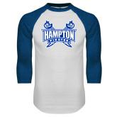White/Royal Raglan Baseball T Shirt-Hampton Pirates Swords
