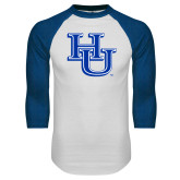 White/Royal Raglan Baseball T Shirt-HU