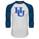 White/Royal Raglan Baseball T Shirt-HU