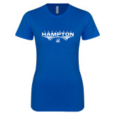Next Level Ladies SoftStyle Junior Fitted Royal Tee-Football Geometric Design