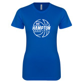 Next Level Ladies SoftStyle Junior Fitted Royal Tee-Basketball Ball Design