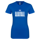 Next Level Ladies SoftStyle Junior Fitted Royal Tee-Basketball Stacked Design