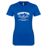 Next Level Ladies SoftStyle Junior Fitted Royal Tee-Lacrosse Crossed Sticks
