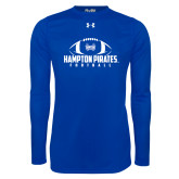Under Armour Royal Long Sleeve Tech Tee-Football Stacked Ball Design