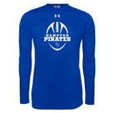 Under Armour Royal Long Sleeve Tech Tee-Vertical Football Design