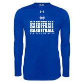 Under Armour Royal Long Sleeve Tech Tee-Basketball Stacked Design
