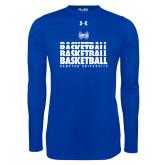 Under Armour Royal Long Sleeve Tech Tee-Basketball Stacked Design