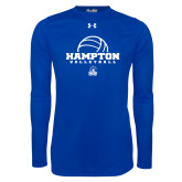 Under Armour Royal Long Sleeve Tech Tee-Volleyball Ball Design