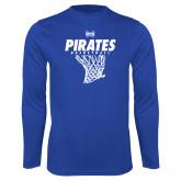 Syntrel Performance Royal Longsleeve Shirt-Basketball Net Design
