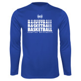 Syntrel Performance Royal Longsleeve Shirt-Basketball Stacked Design