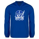 V Neck Royal Raglan Windshirt-Hampton Pirates