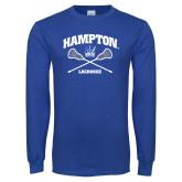 Royal Long Sleeve T Shirt-Lacrosse Crossed Sticks