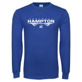 Royal Long Sleeve T Shirt-Football Geometric Design