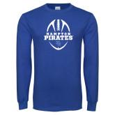 Royal Long Sleeve T Shirt-Vertical Football Design