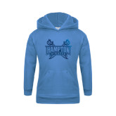 Youth Light Blue Fleece Hoodie-Hampton Pirates Swords